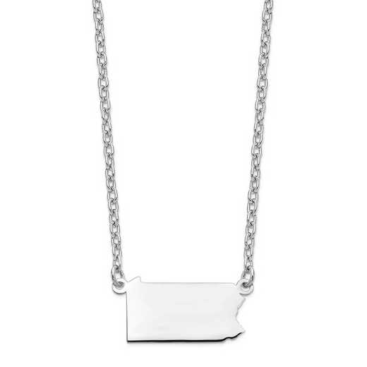 XNA706W-PA: 14k White Gold PA State Pendant with chain