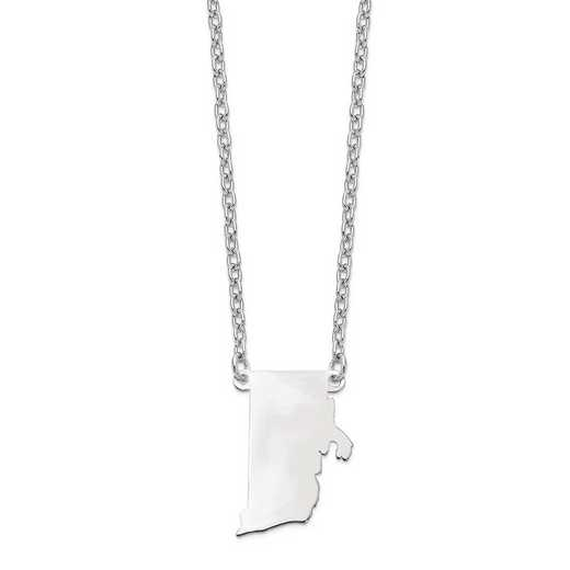 XNA706W-RI: 14k White Gold RI State Pendant with chain