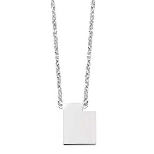 XNA706W-UT: 14k White Gold UT State Pendant with chain