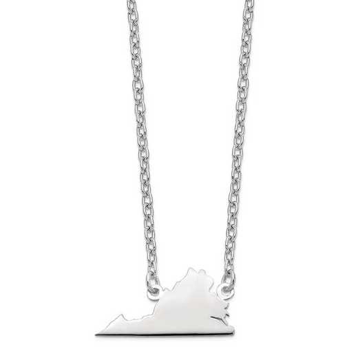 XNA706W-VA: 14k White Gold VA State Pendant with chain