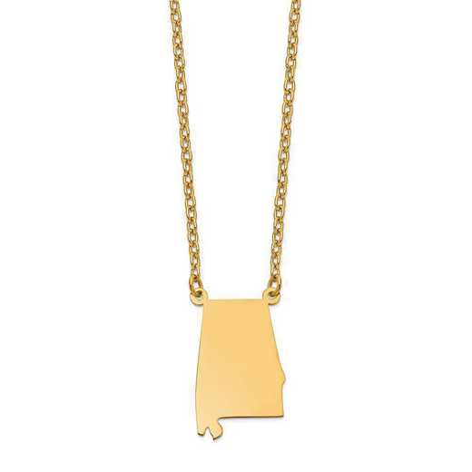 XNA706Y-AL: 14K Yellow Gold AL State Pendant with chain