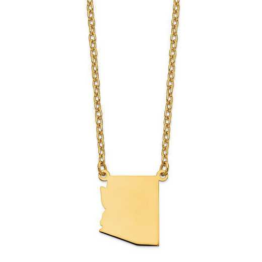 XNA706Y-AZ: 14K Yellow Gold AZ State Pendant with chain