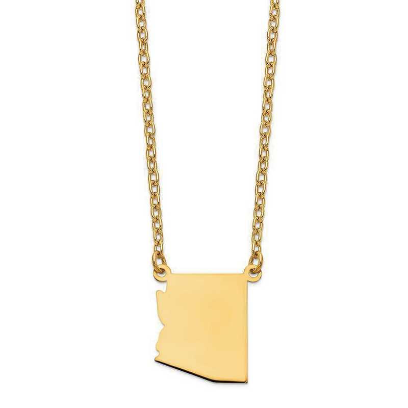XNA706Y-AZ: 14K Yellow Gold AZ State Pendant with chain