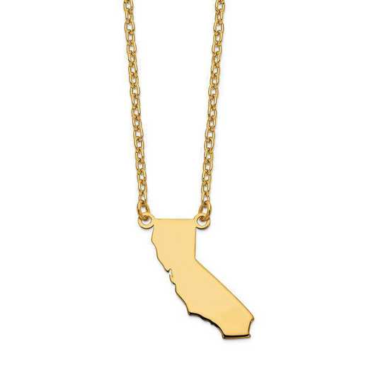 XNA706Y-CA: 14K Yellow Gold CA State Pendant with chain