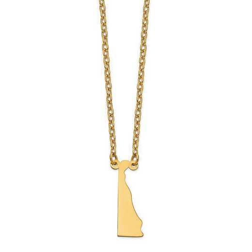 XNA706Y-DE: 14K Yellow Gold DE State Pendant with chain