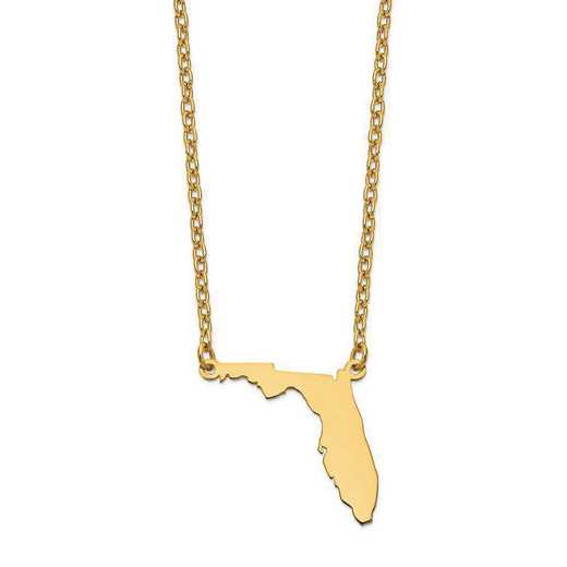 XNA706Y-FL: 14K Yellow Gold FL State Pendant with chain