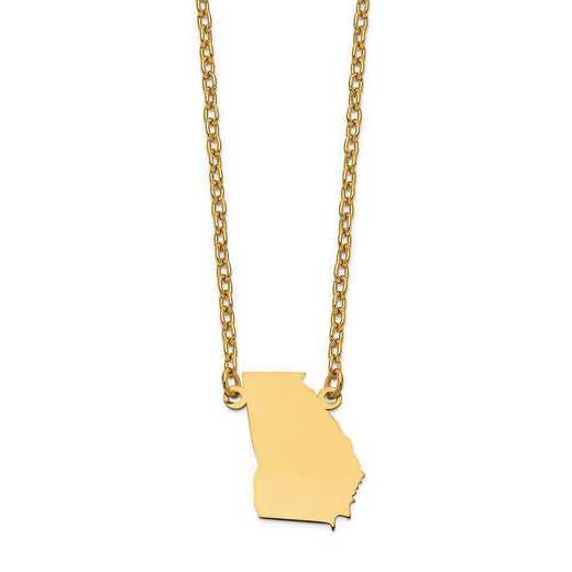 XNA706Y-GA: 14K Yellow Gold GA State Pendant with chain