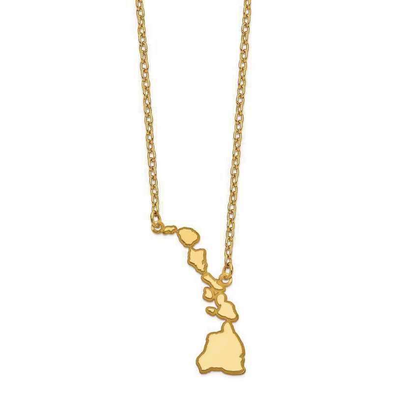 XNA706Y-HI: 14K Yellow Gold HI State Pendant with chain