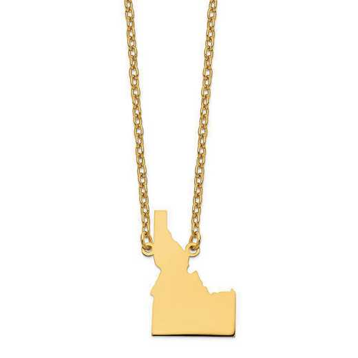 XNA706Y-ID: 14K Yellow Gold ID State Pendant with chain