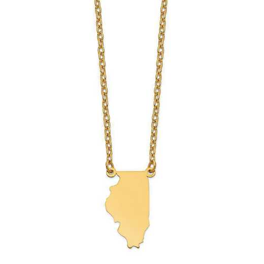 XNA706Y-IL: 14K Yellow Gold IL State Pendant with chain