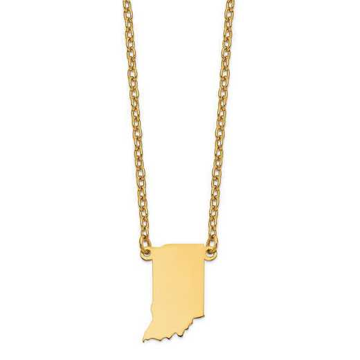 XNA706Y-IN: 14K Yellow Gold IN State Pendant with chain