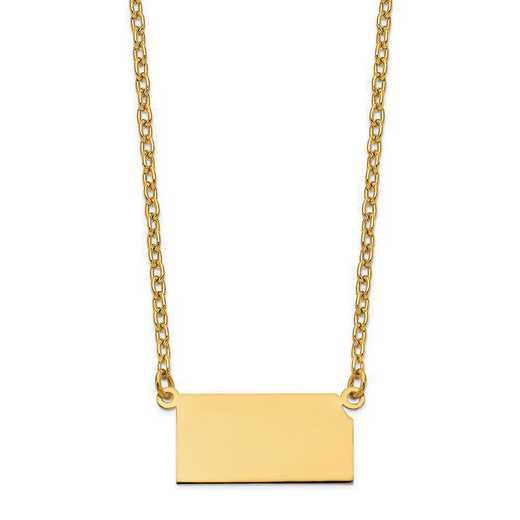 XNA706Y-KS: 14K Yellow Gold KS State Pendant with chain