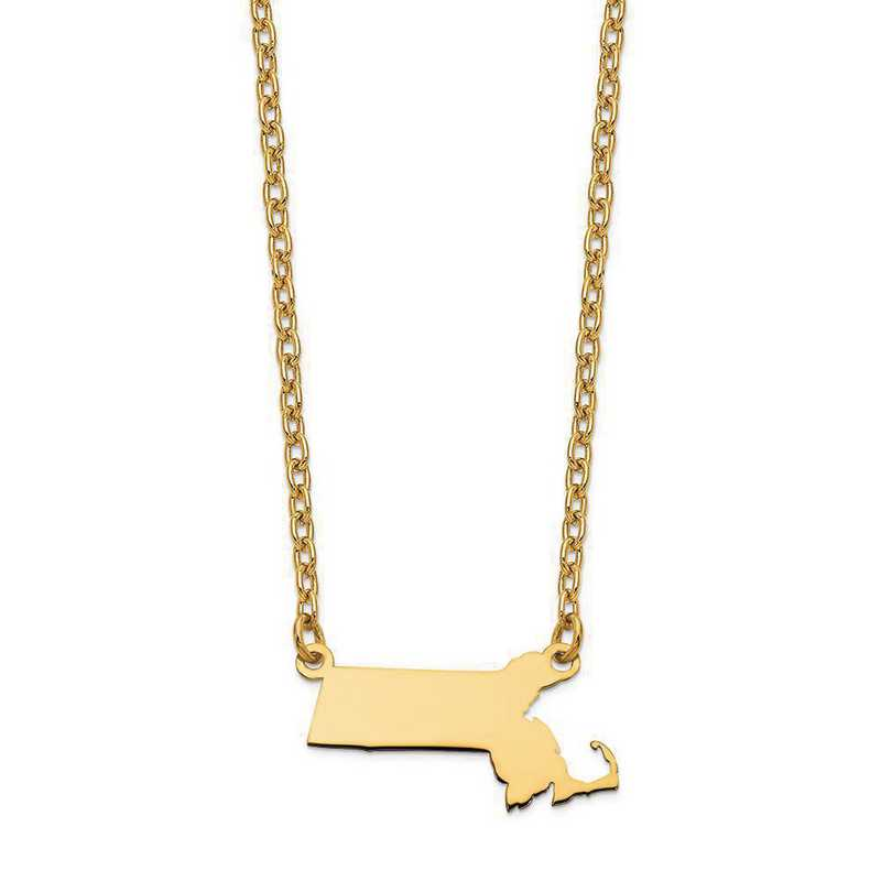 XNA706Y-MA: 14K Yellow Gold MA State Pendant with chain