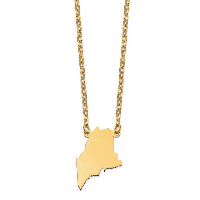 XNA706Y-ME: 14K Yellow Gold ME State Pendant with chain