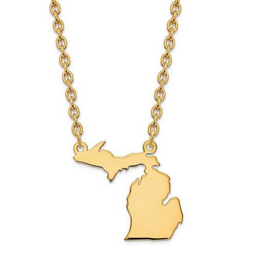 XNA706Y-MI: 14K Yellow Gold MI State Pendant with chain