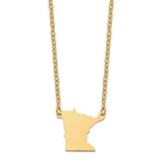 XNA706Y-MN: 14K Yellow Gold MN State Pendant with chain