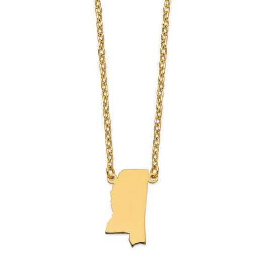 XNA706Y-MS: 14K Yellow Gold MS State Pendant with chain