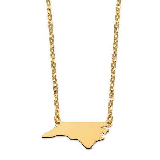 XNA706Y-NC: 14K Yellow Gold NC State Pendant with chain