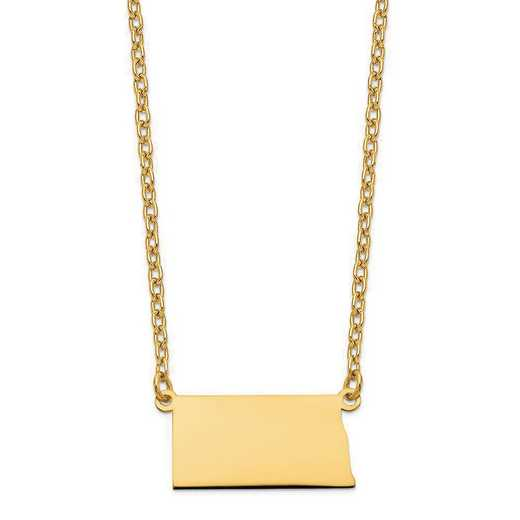 XNA706Y-ND: 14K Yellow Gold ND State Pendant with chain