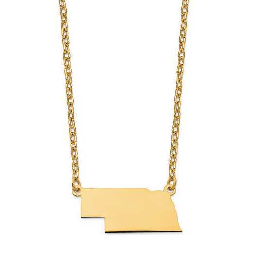XNA706Y-NE: 14K Yellow Gold NE State Pendant with chain