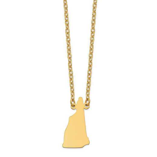 XNA706Y-NH: 14K Yellow Gold NH State Pendant with chain