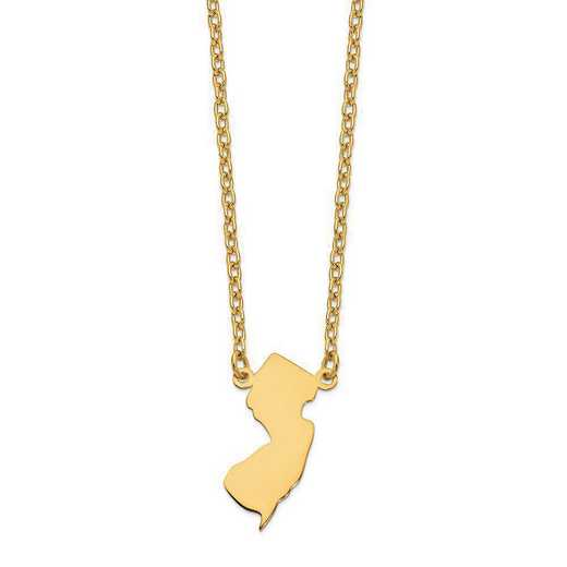 XNA706Y-NJ: 14K Yellow Gold NJ State Pendant with chain