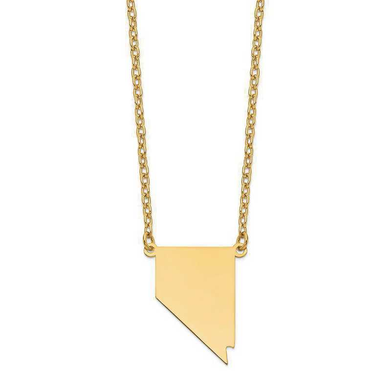 XNA706Y-NV: 14K Yellow Gold NV State Pendant with chain