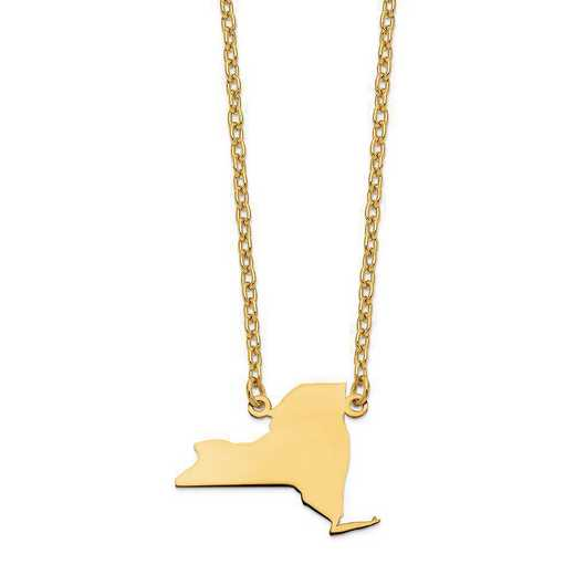 XNA706Y-NY: 14K Yellow Gold NY State Pendant with chain