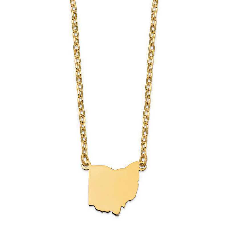 XNA706Y-OH: 14K Yellow Gold OH State Pendant with chain