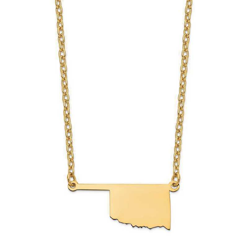 XNA706Y-OK: 14K Yellow Gold OK State Pendant with chain