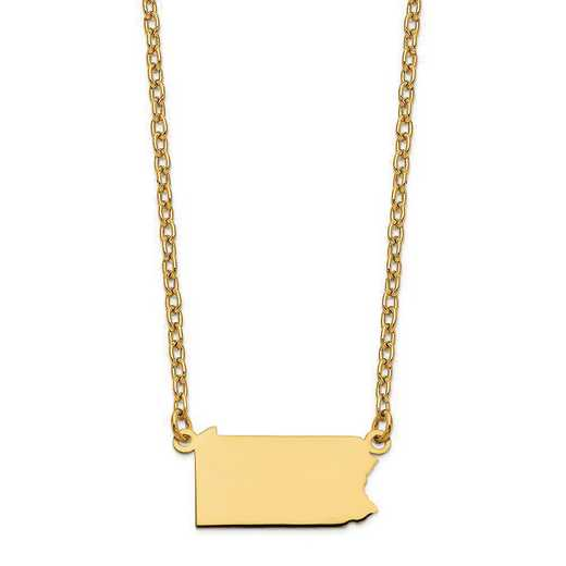 XNA706Y-PA: 14K Yellow Gold PA State Pendant with chain
