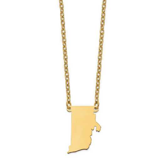 XNA706Y-RI: 14K Yellow Gold RI State Pendant with chain