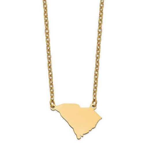 XNA706Y-SC: 14K Yellow Gold SC State Pendant with chain