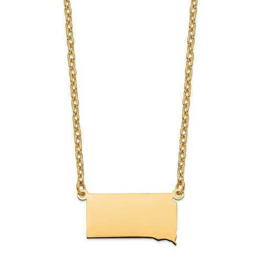 XNA706Y-SD: 14K Yellow Gold SD State Pendant with chain