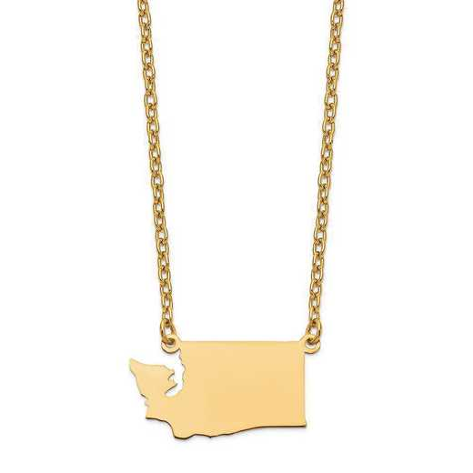 XNA706Y-WA: 14K Yellow Gold WA State Pendant with chain
