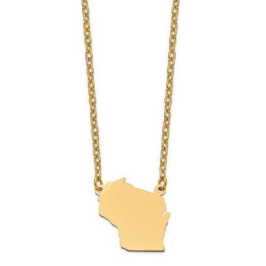 XNA706Y-WI: 14K Yellow Gold WI State Pendant with chain