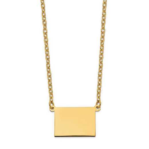 XNA706Y-WY: 14K Yellow Gold WY State Pendant with chain