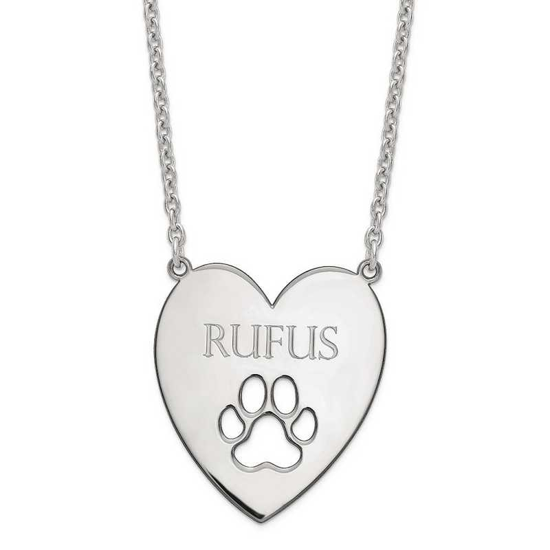 XNA779SS: Sterling Silver Rhod-plated Heart w/ Dog Paw Print Necklace