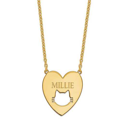XNA780GP: Gold Plated Sterling Silver Heart with Cat Face Necklace