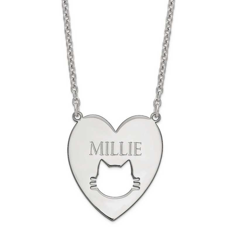 XNA780SS: Sterling Silver Rhodium-plated Heart with Cat Face Necklace