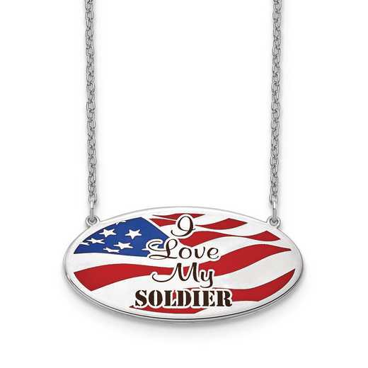 "XNA818SS: ""SS Rhodium-plated American Flag """"I Love My"""" Necklace"""