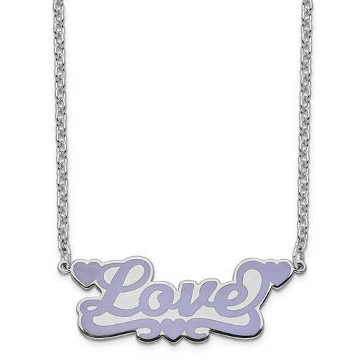 XNA831SSA: Sterling Silver Rhodium-Plated Epoxied Love Necklace