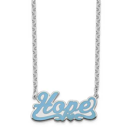 XNA833SSA: Sterling Silver Rhodium-Plated Epoxied Hope Necklace