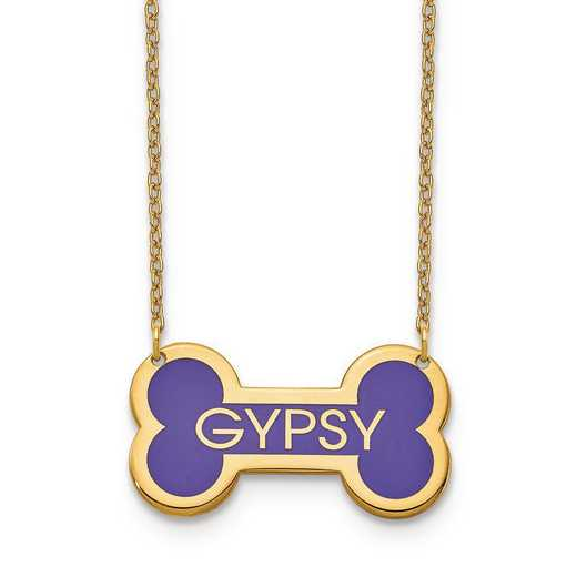 XNA850GP: GP Personalized Epoxied Dog Bone Necklace