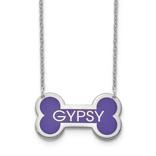 XNA850SS: SS Rhodium-plated Personalized Epoxied Dog Bone Necklace