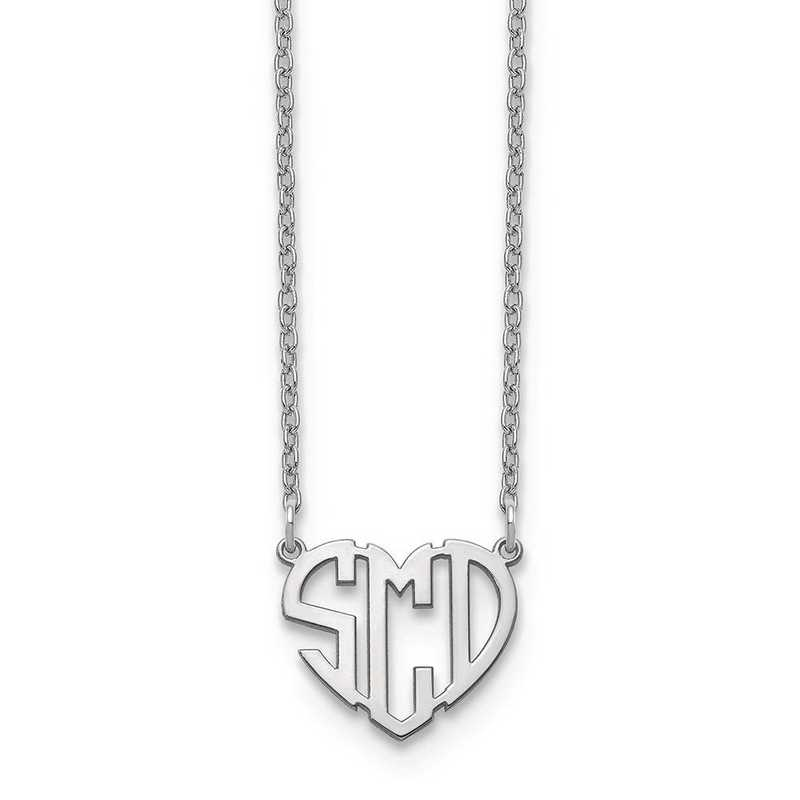 XNA895SS: Sterling Silver Rhodium-plated Heart Monogram Necklace