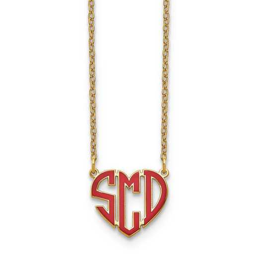 XNA896GP: GP Epoxied Heart Monogram Necklace