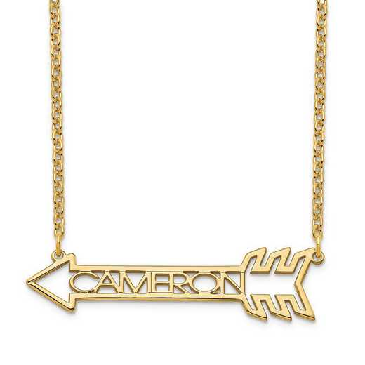 XNA930GP: Sterling Silver Gold Plated Name Arrow Necklace