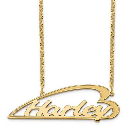 XNA932GP: Sterling Silver Gold Plated Side Heart Nameplate Necklace