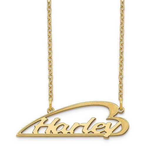 XNA933GP: Sterling Silver Gold Plated Side Heart Nameplate Necklace